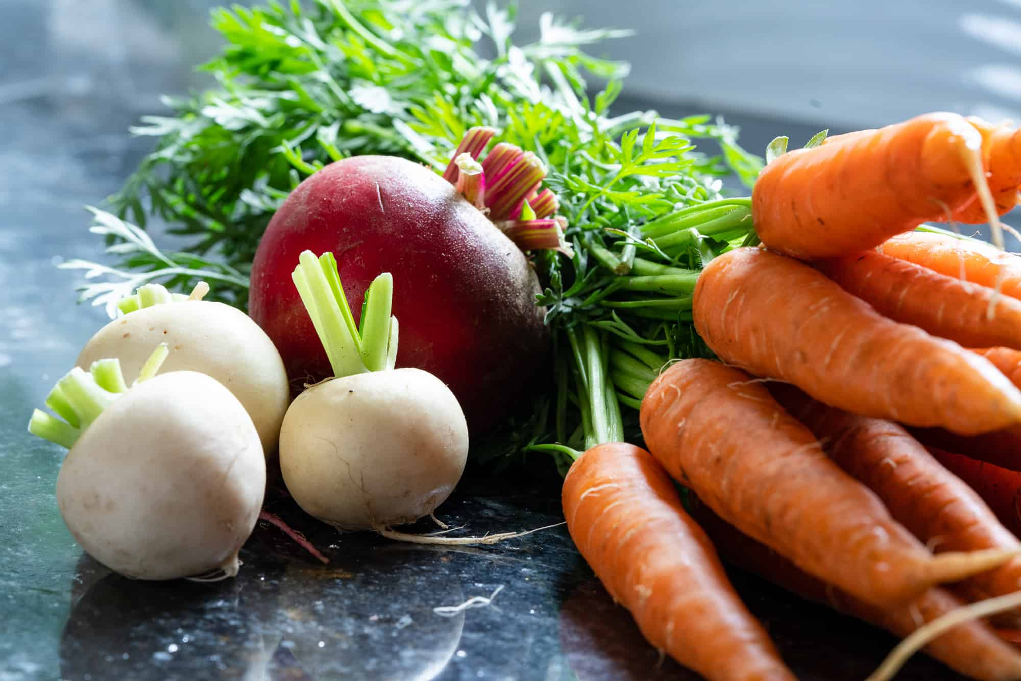 turnips, beets and carrots